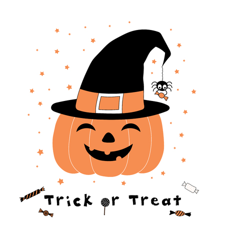 Hand drawn vector illustration of a funny cartoon pumpkin in a witch hat, with spider holding candy hanging on a web thread from its tip, with text Trick or Treat. Design concept for kids, Halloween.
