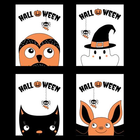 ハロウィンのグリーティング カード、招待状、ポスター、オレンジ、黒と白、かわいい漫画のキャラクターと本文の手描きテンプレートのセット。