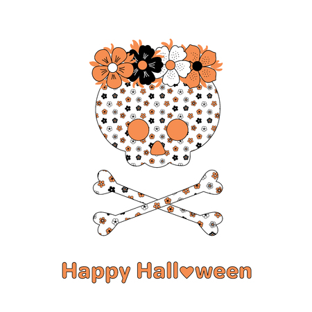 scrap book: Hand drawn vector illustration of a funny cartoon skull and crossbones with a flower pattern, in a flower chain, with text Happy Halloween. Isolated objects on white background. Design concept kids.