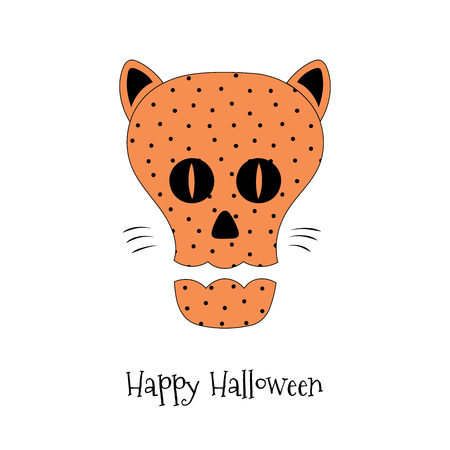 Hand drawn vector illustration of a funny cartoon skull with polka dots pattern, with cat ears, eyes and whiskers, text Happy Halloween. Isolated objects on white background. Design concept for kids. Illustration