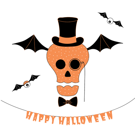 Hand drawn vector illustration of a funny cartoon skull in a bow tie, top hat and monocle, flying on bat wings, with hanging text Happy Halloween. Isolated objects on white background. Design concept.