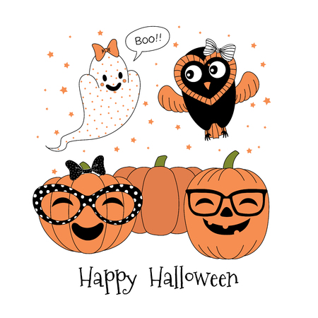 Hand drawn vector illustration of cute funny pumpkins in glasses, ghost with a bow saying Boo, flying owl, text Happy Halloween. Isolated objects on white background. Design concept for children.