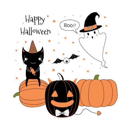 Hand drawn vector illustration of jack o lantern, cute funny ghost in a witch hat, black cat sitting on a pumpkin, text Happy Halloween. Isolated objects on white background. Design concept for kids.