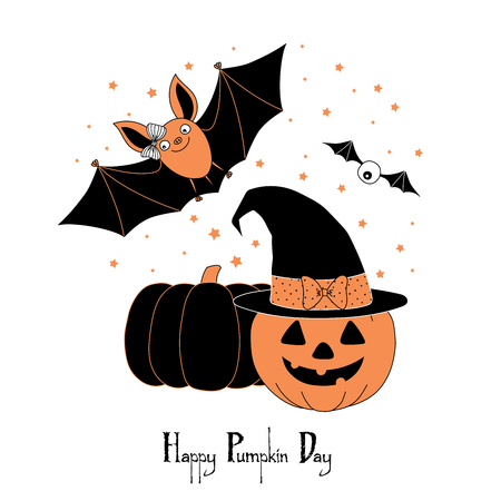 Hand drawn vector illustration of a cute funny bat, pumpkin, jack o lantern in a witch hat with a bow, text Happy Pumpkin Day. Isolated objects on white background. Design concept for kids, Halloween.