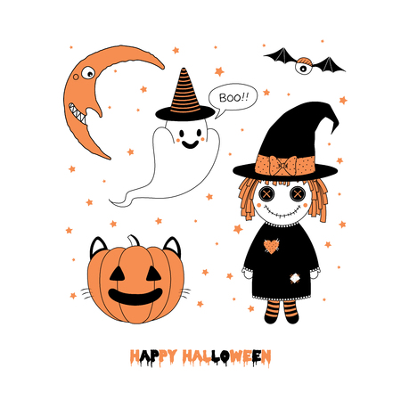 Hand drawn vector illustration of a pumpkin with cat ears, cute funny ghost in a witch hat, rag doll, crescent moon, text Happy Halloween. Isolated objects on white background. Design concept for kids