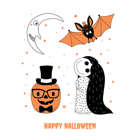 Hand drawn vector illustration of cute funny pumpkin in glasses and top hat, little creepy girl, bat, smiling moon, text Happy Halloween. Isolated objects on white background. Design concept for kids.
