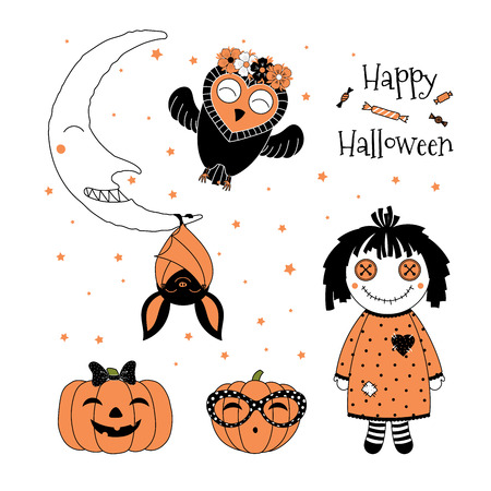 Hand drawn vector illustration of cute funny pumpkins, bat hanging on the moon, flying owl in a flower chain, rag doll, text Happy Halloween. Isolated objects on white background. Design concept kids.
