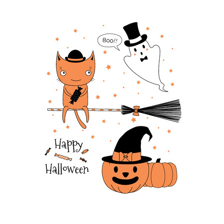 Hand drawn vector illustration of a cute funny cat with a candy on a broomstick, ghost, jack o lantern pumpkin, text Happy Halloween. Isolated objects on white background. Design concept for children. Illustration