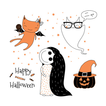 Hand drawn vector illustration of cute funny pumpkin, little creepy girl, flying cat, ghost saying Meow (Nya) in Japanese, Happy Halloween. Isolated objects on white background. Design concept kids.