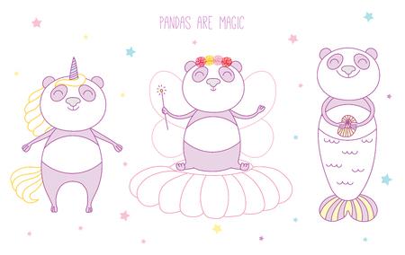 かわいいパンダのユニコーン、花の妖精、人魚、本文と、星の間のベクトル イラストを手描き。白い背景の上の孤立したオブジェクト。子供のため  イラスト・ベクター素材