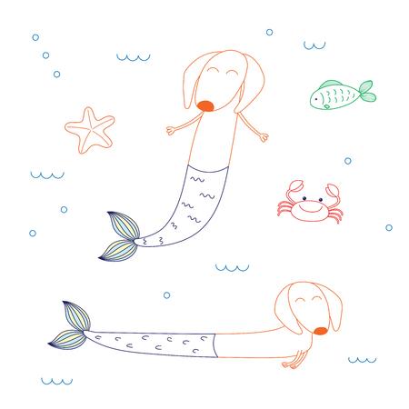 귀여운 닥스 훈트 인 어 공주, 불가사리, 물고기와 게, 바다에서 수영의 손으로 그린 벡터 일러스트 레이 션. 흰색 배경에 고립 된 개체입니다. 어린이 일러스트