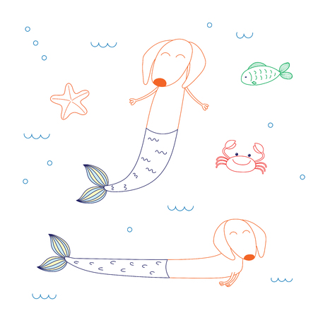Hand drawn vector illustration of cute dachshund mermaids, with starfish, fish and crab, swimming in the sea. Isolated objects on white background. Design concept for children. Unfilled outline.