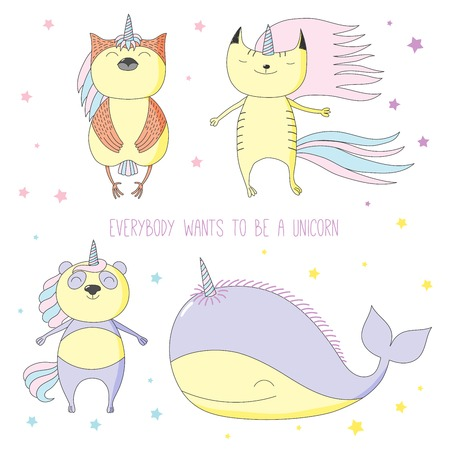 Hand drawn vector illustration of a cute whale, cat, panda and owl as unicorns among the stars, with text. Isolated objects on white background. Design concept for children.