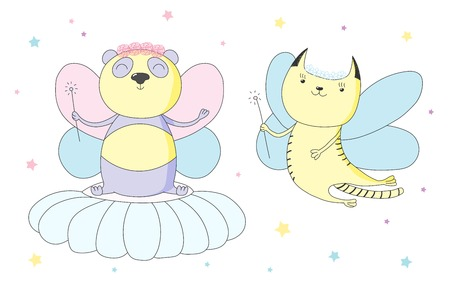 Hand drawn vector illustration of a cute cat and panda as flower fairies with magic wands, among the stars. Isolated objects on white background. Design concept for children.