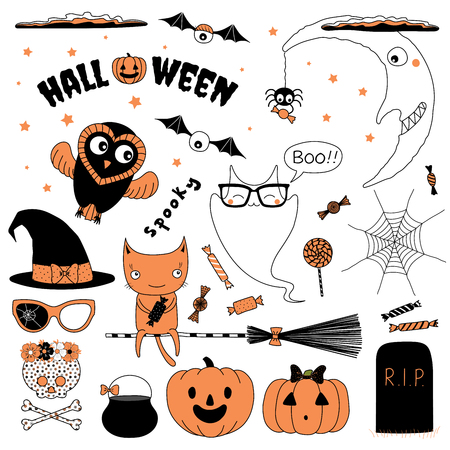 Set of hand drawn vector Halloween design elements: witch hat, pumpkin, glasses, spider, candy, skull, bones, web, ghost saying Meow (Nya) in Japanese, moon, cat on a broomstick, cauldron, grave stone