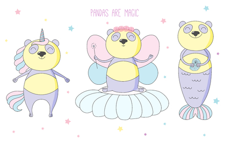 Hand drawn vector illustration of a cute panda unicorn, flower fairy, mermaid, among the stars, with text. Isolated objects on white background. Design concept for children. Ilustração