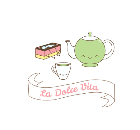Hand drawn vector illustration of a cute mint tea cup, pot and pastry, Italian text La dolce vita (Sweet life). Isolated objects on white background. Design concept dessert, kids, greeting card.