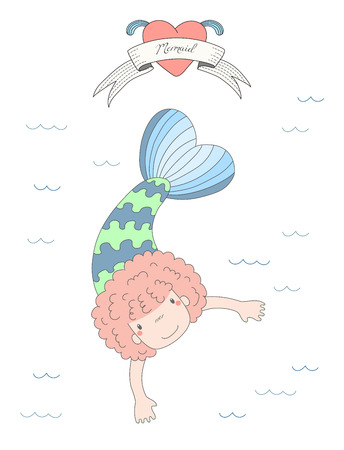 Hand drawn vector illustration of a cute little mermaid girl with curly hair, swimming in the sea, heart and text Mermaid on a ribbon. Isolated objects on white background. Design concept for children 版權商用圖片 - 88890354