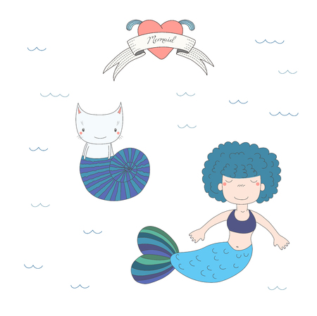 Hand drawn vector illustration of a cute little mermaid girl with puffy hair and a cat in a sea shell, under water, heart and text Mermaid. Isolated objects on white background. Design concept kids.