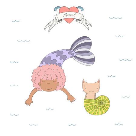 Bergeben Sie gezogene Vektorillustration eines netten dunkelhäutigen Meerjungfraumädchens und einer Katze in einem Seeoberteil, unter Wasser, Herzen und Text auf einem Band. Lokalisierte Gegenstände auf weißem Hintergrund. Design-Konzept für Kinder. Standard-Bild - 88890360