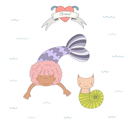 Hand drawn vector illustration of a cute dark skinned mermaid girl and a cat in a sea shell, under water, heart and text on a ribbon. Isolated objects on white background. Design concept for kids.