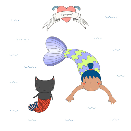 Hand drawn vector illustration of a cute tanned mermaid girl and a cat with fish tail, swimming in the sea, heart and text Mermaid. Isolated objects on white background. Design concept for children.