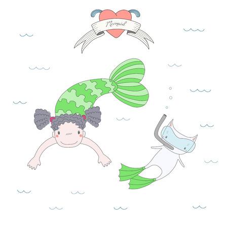 かわいい人魚の少女とフィンを泳ぐとスキューバ ダイビングのマスク、水、心およびテキスト人魚の下で猫の描かれたベクトル イラストを手します  イラスト・ベクター素材