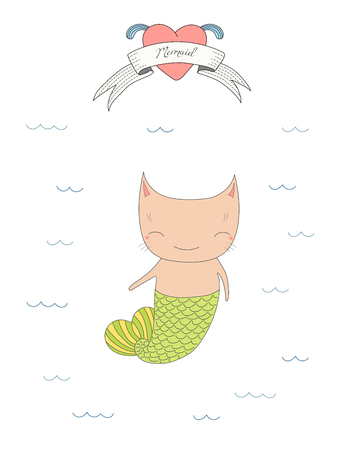 Hand drawn vector illustration of a cute little mermaid cat with a tail, swimming in the sea, heart and text Mermaid on a ribbon. Isolated objects on white background. Design concept for children. Illustration