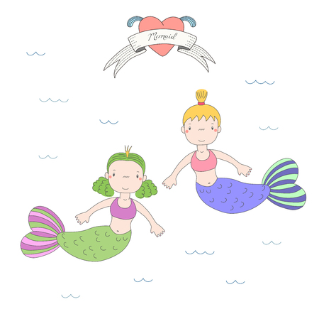 Hand drawn vector illustration of two cute little mermaid girls, swimming in the sea, heart with fins and text Mermaid on a ribbon. Isolated objects on white background. Design concept for children. 版權商用圖片 - 88890367