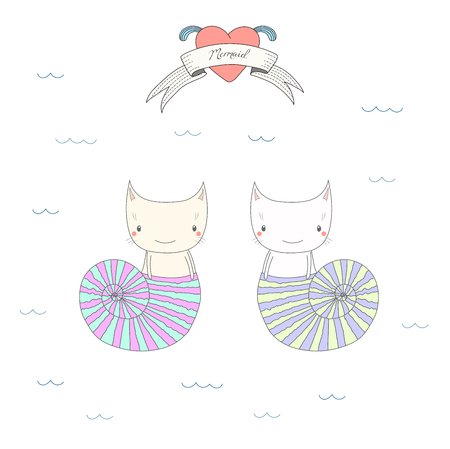 Hand drawn vector illustration of two cute little mermaid cats in sea shells, under water, heart and text Mermaid on a ribbon. Isolated objects on white background. Design concept for children.