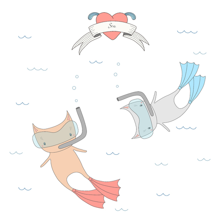 Hand drawn vector illustration of two cute little cats in swim fins and scuba masks, diving in the sea, heart and text Sea on a ribbon. Isolated objects on white background. Design concept for kids.
