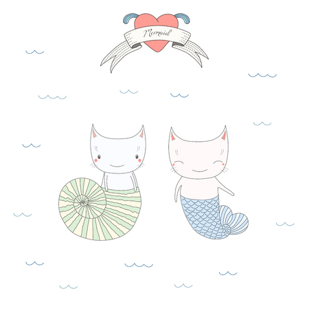 Hand drawn vector illustration of two cute little mermaid cats in a sea shell and with fish tail, under water, heart and text Mermaid. Isolated objects on white background. Design concept for children