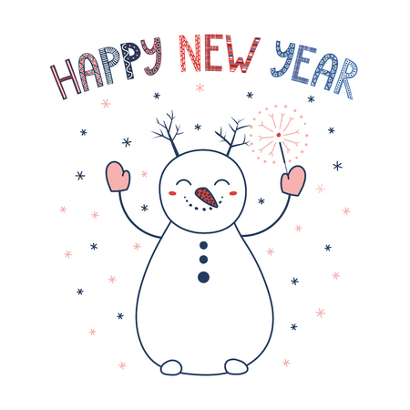 Hand drawn greeting card with a cute cartoon snowman in mittens holding a sparkler, text Happy New Year. Isolated objects on white background. Vector illustration. Design concept winter holidays.