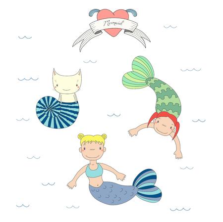 手は、海シェル, リボンの水泳水、心およびテキストの下に 2 つのかわいい小さな人魚女の子のベクトル イラストと猫を描いた。白い背景の上の孤  イラスト・ベクター素材