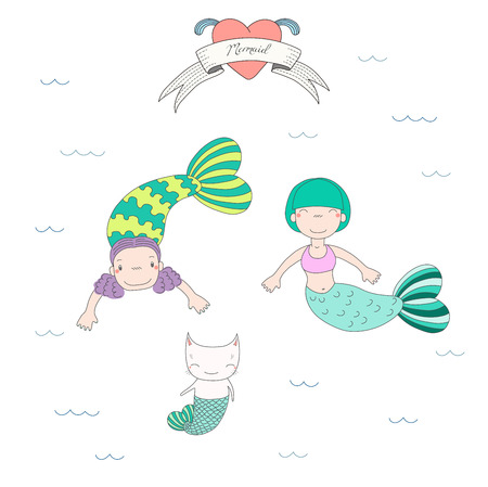 Hand drawn vector illustration of two cute little mermaid girls and a cat with fish tail, under water, heart and text on a ribbon. Isolated objects on white background. Design concept for kids. Illustration
