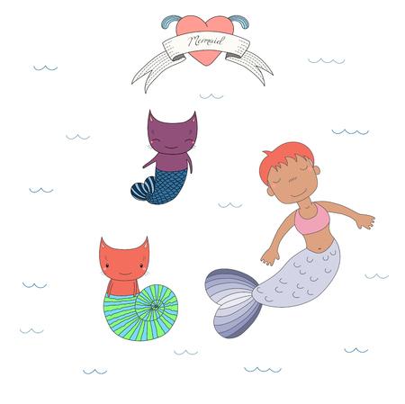 かわいい日焼け人魚の女の子と魚の尾と海のシェル、水、心およびテキストの下に 2 匹の猫の描かれたベクター イラストを手します。白い背景の上  イラスト・ベクター素材