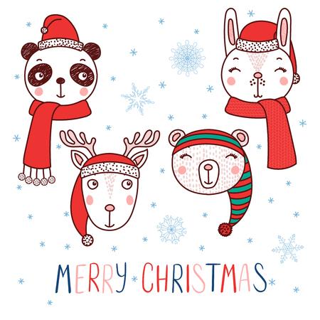 Conjunto de dibujado a mano lindos retratos divertidos de oso, panda, conejo, ciervos en Santa Claus, sombreros de duende, texto feliz Navidad. Objetos aislados sobre fondo blanco. Ilustración vectorial Concepto de diseño para niños.