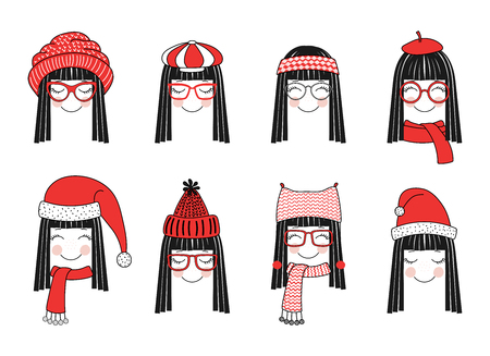 Set of hand drawn cute funny smiling girl faces in different warm hats, glasses, mufflers. Isolated objects on white background. Vector illustration. Design concept for kids, winter, cold weather. 向量圖像