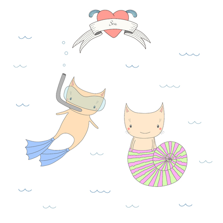Hand drawn vector illustration of two cute little cats under water, in a sea shell and in swim fins and scuba mask, heart and text Sea. Isolated objects on white background. Design concept for kids.
