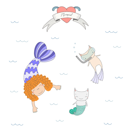 flippers: Hand drawn vector illustration of a cute mermaid girl and two cats with fish tail and in swim fins, scuba mask, under water, heart and text. Isolated objects on white background. Design concept kids. Illustration