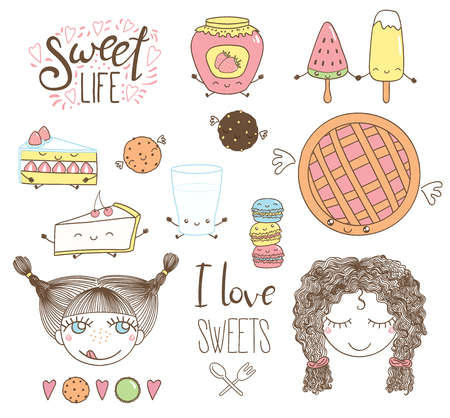 Set of different hand drawn sweet food doodles, with kawaii cartoon faces, wings, arms and legs, girl faces, typography elements. Isolated objects on white background. Design concept dessert, kids.