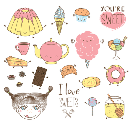 Set of different hand drawn sweet food doodles, with kawaii cartoon faces, wings, arms and legs, girl face, typography elements. Isolated objects on white background. Design concept dessert, kids. Ilustração