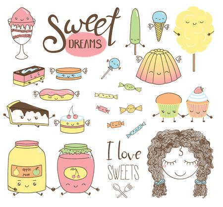 かわいい漫画顔、翼、腕と足、女の子の顔、タイポグラフィの要素と異なる手描き甘い食べ物のいたずら書きのセットです。白い背景の上の孤立し