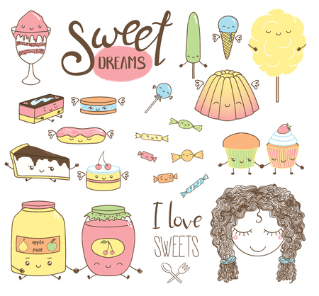Set of different hand drawn sweet food doodles, with kawaii cartoon faces, wings, arms and legs, girl face, typography elements. Isolated objects on white background. Design concept dessert, kids. Illustration