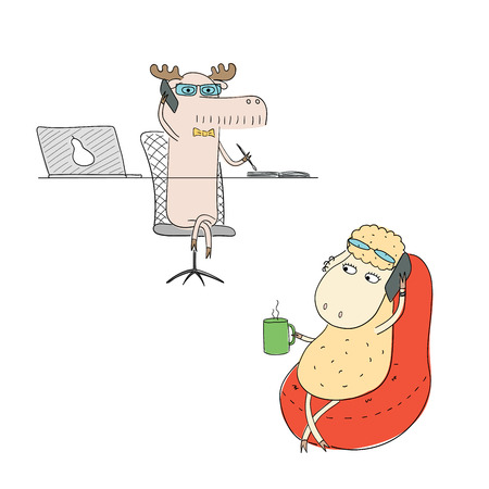 Hand drawn vector illustration of a funny sheep and moose as office workers, talking on the phone. Line drawing. Isolated objects on white background. Design concept for work, office, business.