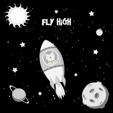 Hand drawn vector illustration of a cute funny cat astronaut flying in a rocket in outer space, with text Fly high. Isolated objects. Design concept for children.