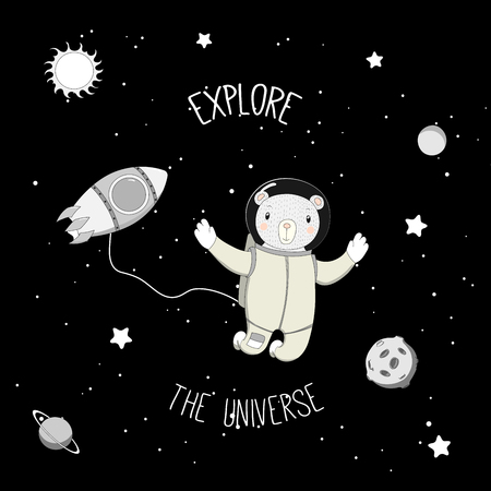 Hand drawn vector illustration of a cute funny bear astronaut on a spacewalk in outer space, with text Explore the universe. Isolated objects. Design concept for children.