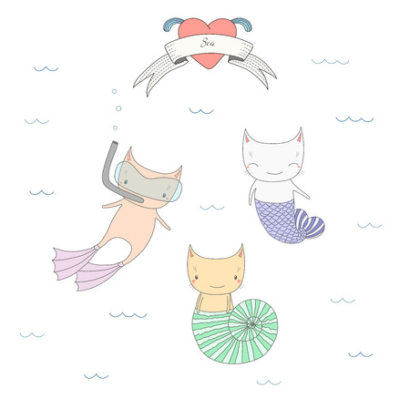 Hand drawn vector illustration of three cute cats under water, with fish tail, in a sea shell and in swim fins and scuba mask, text Sea. Isolated objects on white background. Design concept for kids. Ilustração