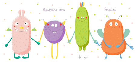 scrap book: Hand drawn vector illustration of cute funny colourful monsters smiling and holding hands, text Monsters are friends. Isolated objects on white background with polka dots. Design concept for children.