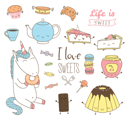 Set of different hand drawn sweet food doodles, with kawaii cartoon faces, wings, arms and legs, unicorn eating donut, typography. Isolated objects on white background. Design concept dessert, kids.